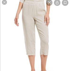 Eileen Fisher Beige Cropped Linen Raw Hem Pants